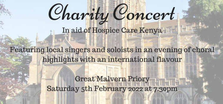 Join us at a Charity Concert at Great Malvern Priory on Saturday 5th February 2022